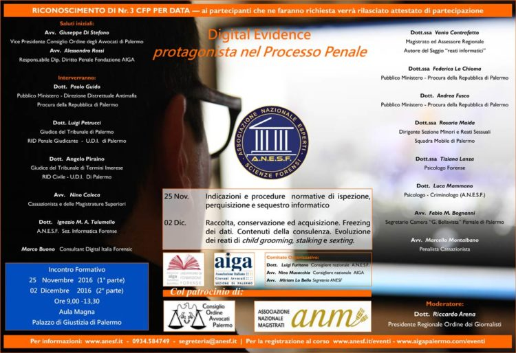 Locandina corso Digital Evidence Palermo